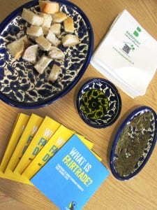 Palestinian snack:bread dipped in Fairtrade Palestinian olive oil dipped in Za'atar herbs.