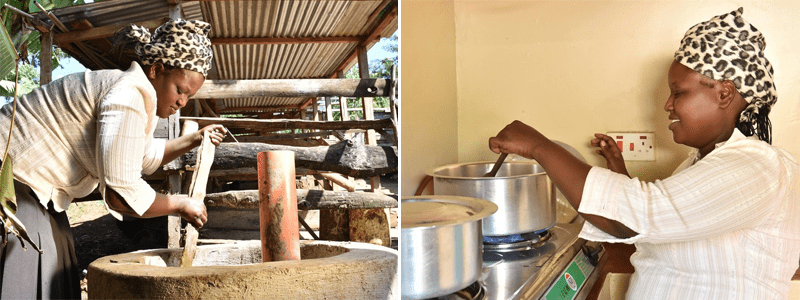 Mixing and processing the cow dung to produce biogas for the cook stove and cooking on the stove.